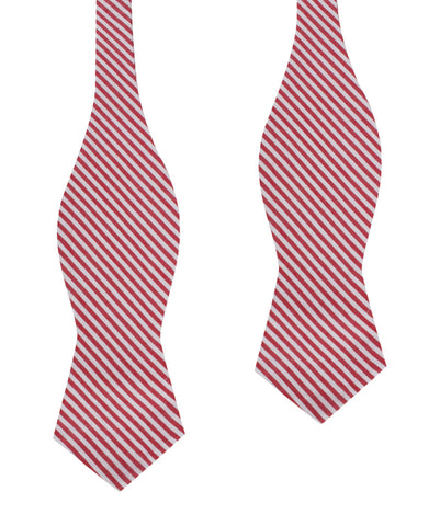 Red Chalk Stripes Cotton Self Tie Diamond Bow Tie