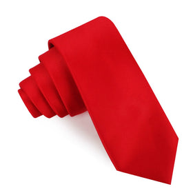 Red Cherry Satin Skinny Tie
