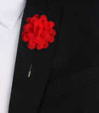 Red Flower Lapel Suit Jacket Boutonniere