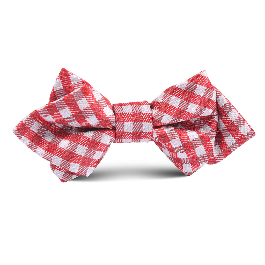 Red Gingham Kids Diamond Bow Tie