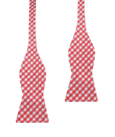 Red Gingham Self Tie Bow Tie