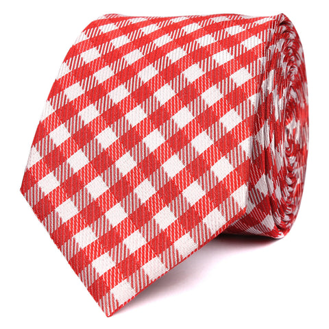 Red Gingham Skinny Tie