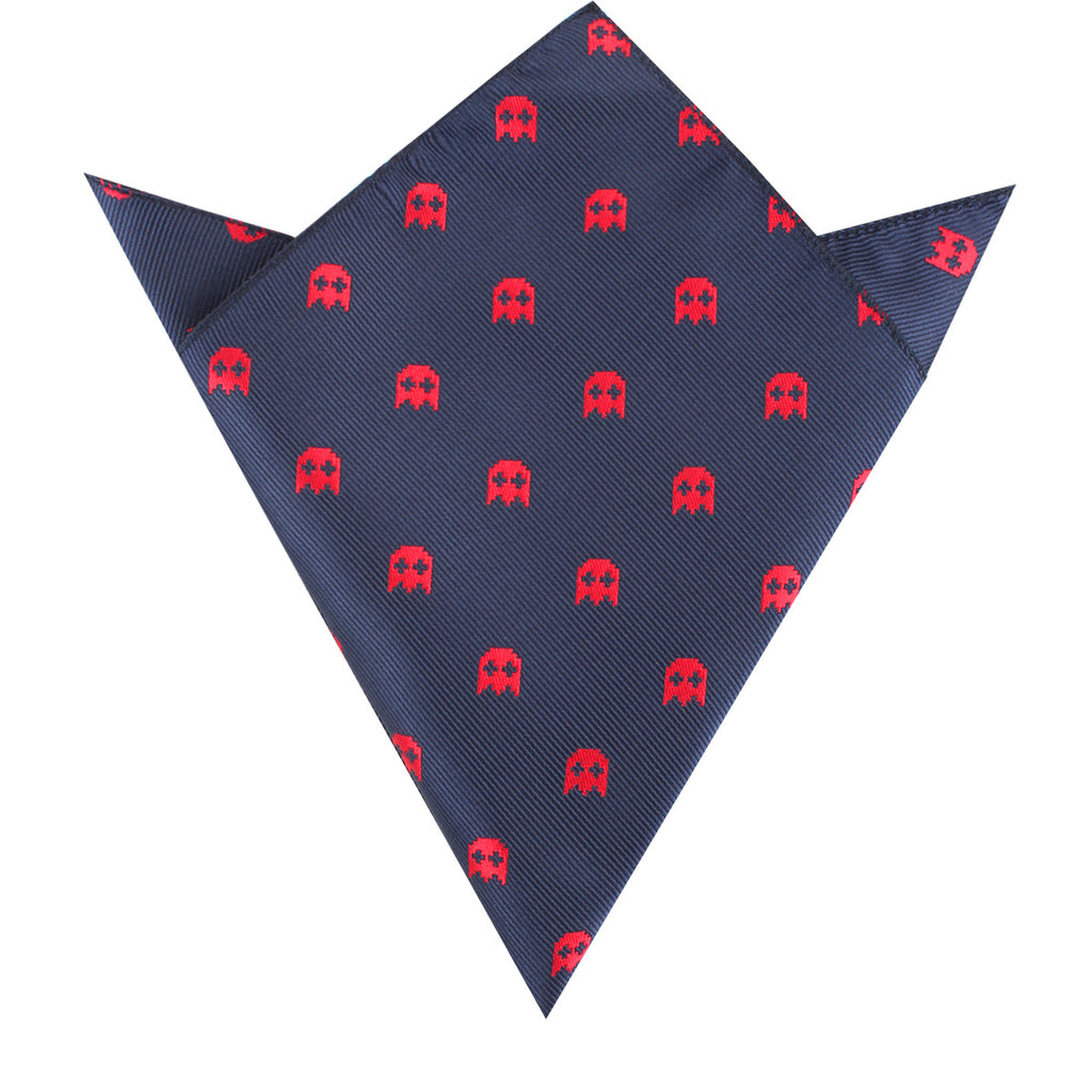 Red Pixel Ghost Pocket Square