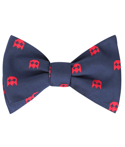 Red Pixel Ghost Self Bow Tie