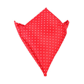 Red Pocket Square with White Polka Dots