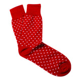 Red Polka Dots Cotton-Blend Stylish Mens OTAA Socks