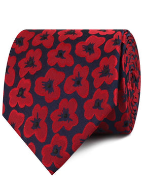 Red Poppy Floral Necktie