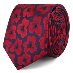 Red Poppy Floral Skinny Tie