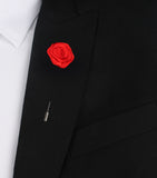 Classic Red Rose Lapel Flower Suit Jacket Boutonniere