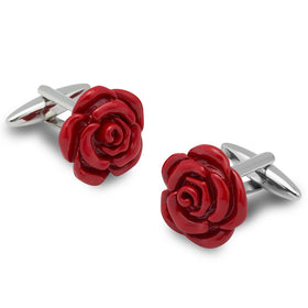 Red Rose Metal Cufflinks