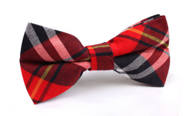Red Scottish Plaid Cotton Bow Tie