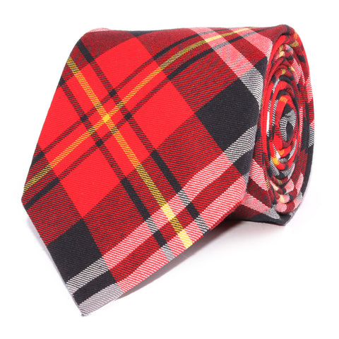 Red Scottish Plaid Cotton Necktie