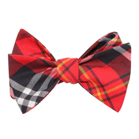 Red Scottish Plaid Cotton Self Tie Bow Tie