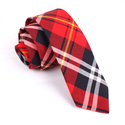 Red Scottish Plaid Cotton Skinny Tie