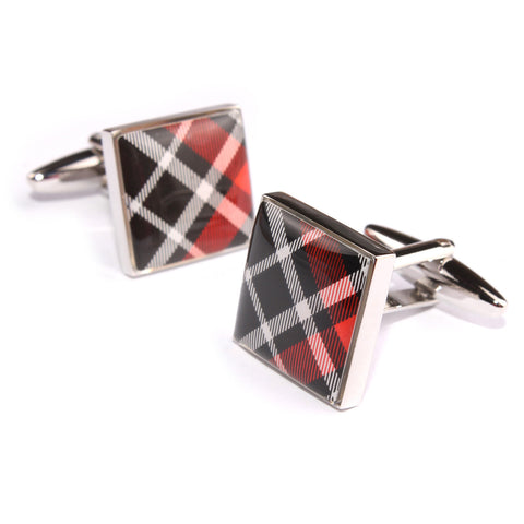 Red Scottish Plaid Cufflinks