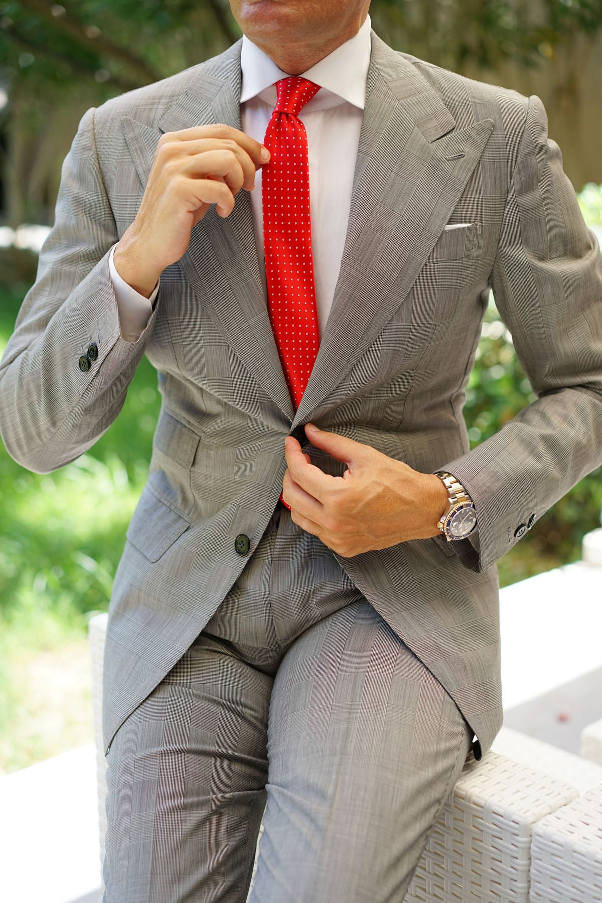 Red Skinny Tie with White Polka Dots