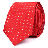 Red Skinny Tie with White Polka Dots OTAA roll