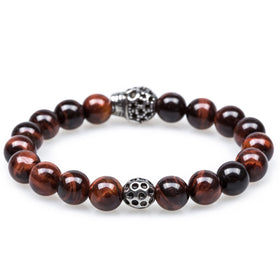 Red Tiger Eye Pirate Skull Bracelet