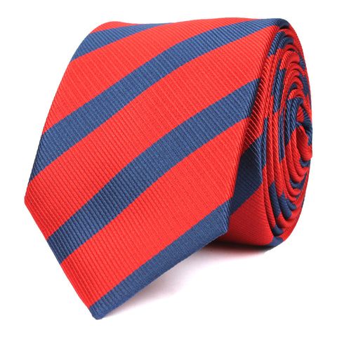 Red and Navy Blue Diagonal - Skinny Tie