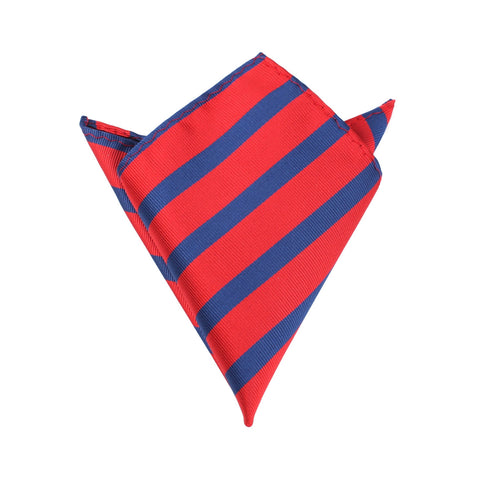 Red and Navy Blue Diagonal - Pocket Square