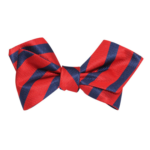 Red and Navy Blue Striped Self Tie Diamond Tip Bow Tie