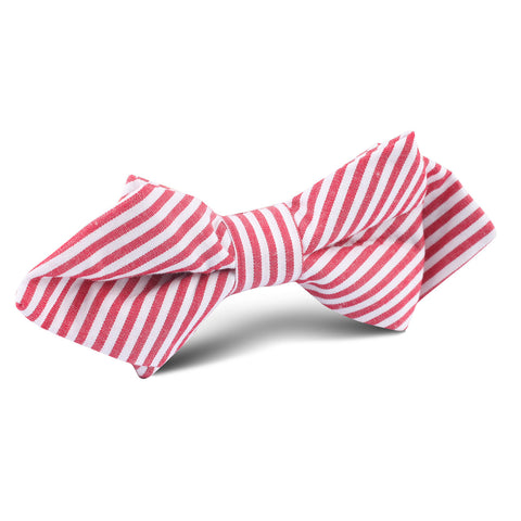 Red and White Chalk Stripe Cotton Diamond Bow Tie