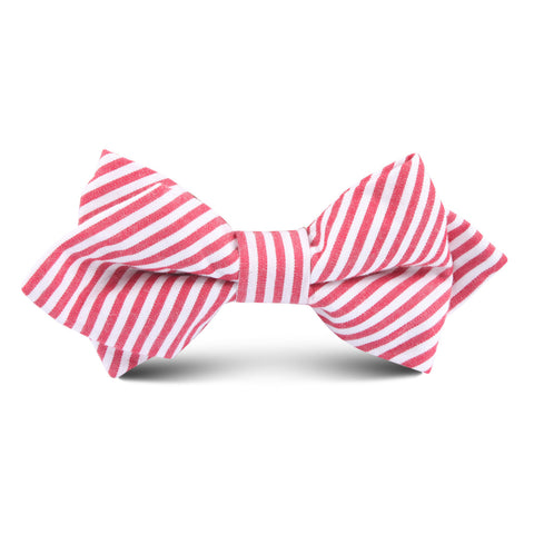 Red and White Chalk Stripe Cotton Kids Diamond Bow Tie