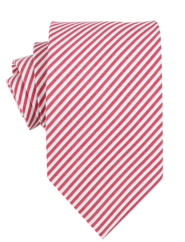 Red and White Chalk Stripe Cotton Necktie