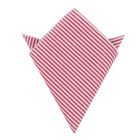 Red and White Chalk Stripe Cotton Pocket Square