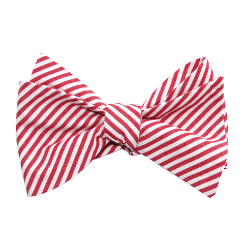 Red and White Chalk Stripe Cotton Self Tie Bow Tie