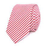 Red and White Chalk Stripe Cotton Skinny Tie Front