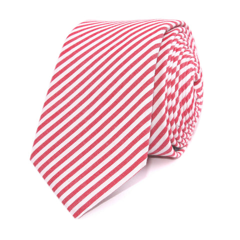 Red and White Chalk Stripe Cotton Skinny Tie