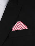 Red and White Chalk Stripe Cotton Winged Puff Pocket Square Fold