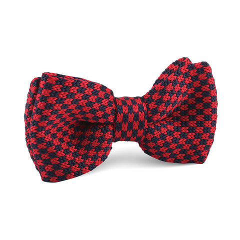 Red with Navy Blue Checkered Knitted Bow Tie