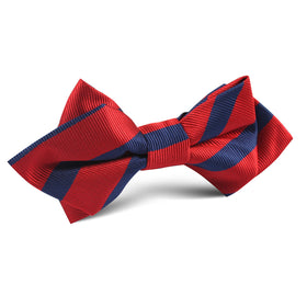 Red with Navy Blue Striped Diamond Bow Tie