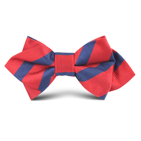 Red with Navy Blue Striped Kids Diamond Bow Tie