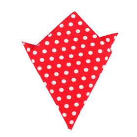 Red with White Large Polka Dots Cotton Pocket Square