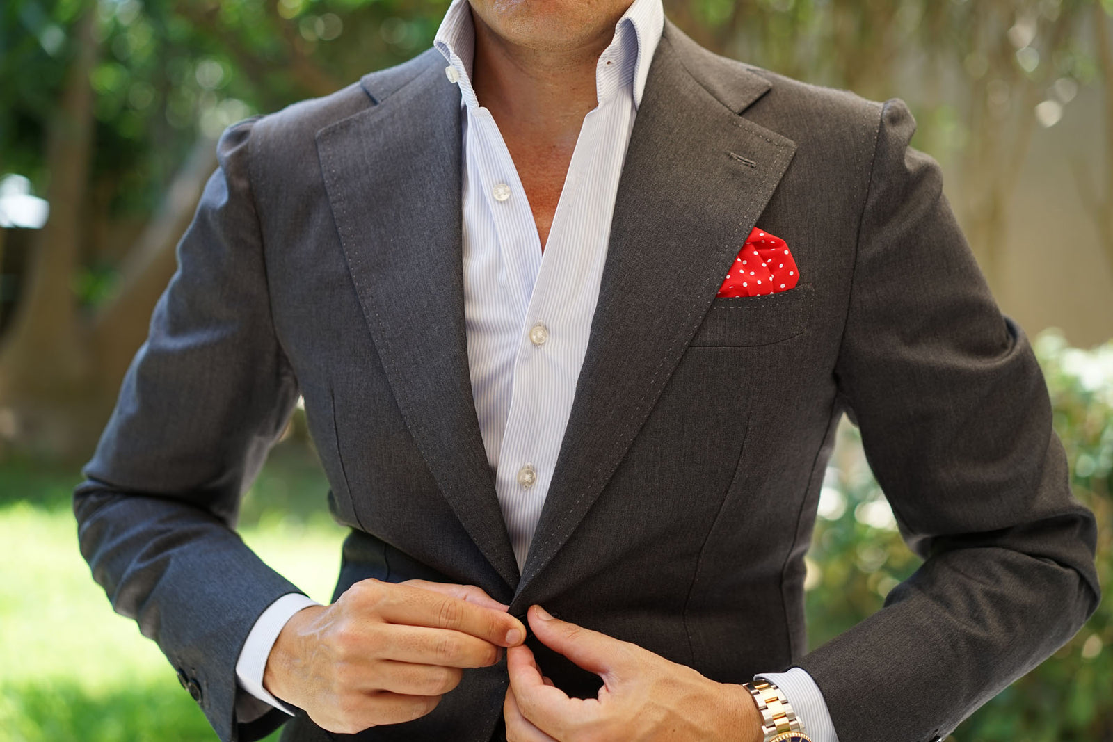 Red with White Polka Dots Cotton Pocket Square