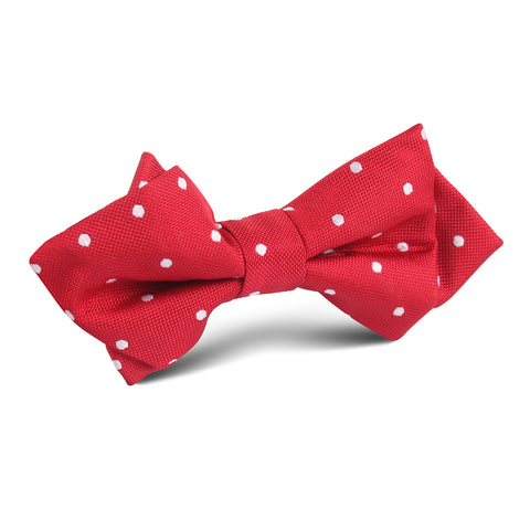 Red with White Polka Dots Diamond Bow Tie
