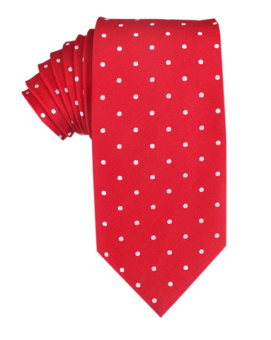 Red with White Polka Dots Necktie