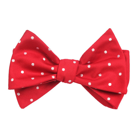 Red with White Polka Dots Self Tie Bow Tie