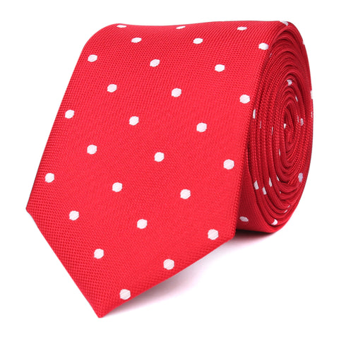 Red with White Polka Dots Skinny Tie