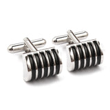 Ribbed Black cufflinks Double Front Side