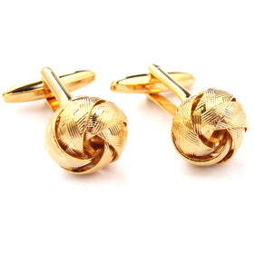 Ribbon Sphere Gold Cufflinks
