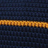 Richard Gecko Navy Blue with Yellow Stripes Knitted Tie Fabric
