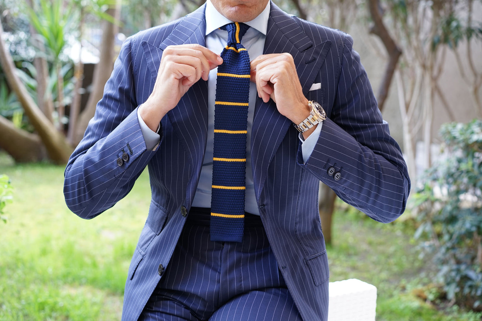 Richard Gecko Navy Blue with Yellow Stripes Knitted Tie