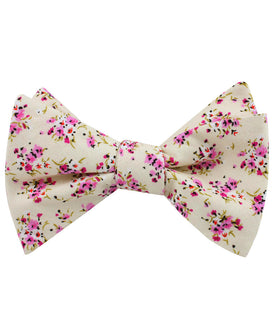 Río Pink Rose Floral Self Bow Tie