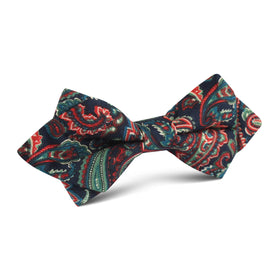 Rocambolesco Green Paisley Diamond Bow Tie