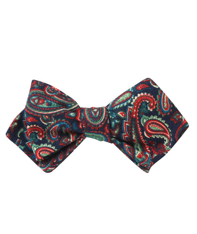 Rocambolesco Green Paisley Diamond Self Bow Tie