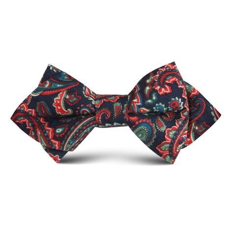 Rocambolesco Green Paisley Kids Diamond Bow Tie
